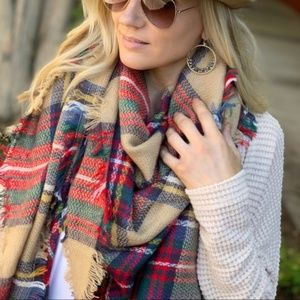 Khaki Plaid Blanket Scarf